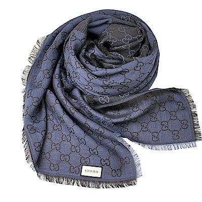 GUCCI  經典GG LOGO 羊毛混絲斜紋雙色方形圍巾披肩-黑x藍
