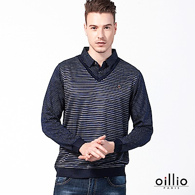 歐洲貴族 oillio 長袖POLO 假兩件式 熟男款式 紫色