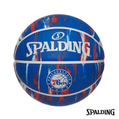 SPALDING 斯伯丁 NBA 隊徽球 大理石印花系列-76人 RUBBER 籃球 7號