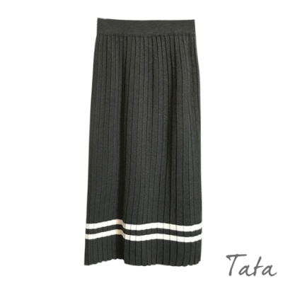 條紋運動風針織百褶裙 共二色 TATA-(S~L)