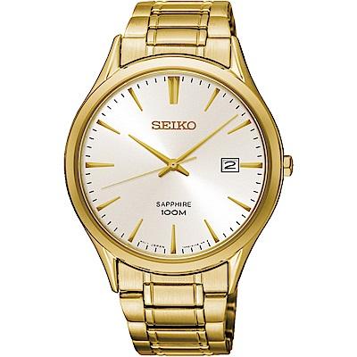 SEIKO精工CS 都會品味藍寶石水晶腕錶(SGEH72P1)-金/40mm