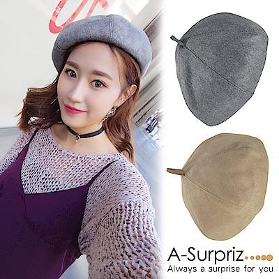 A-Surpriz 素雅純色仿麂皮畫家帽(2色選)