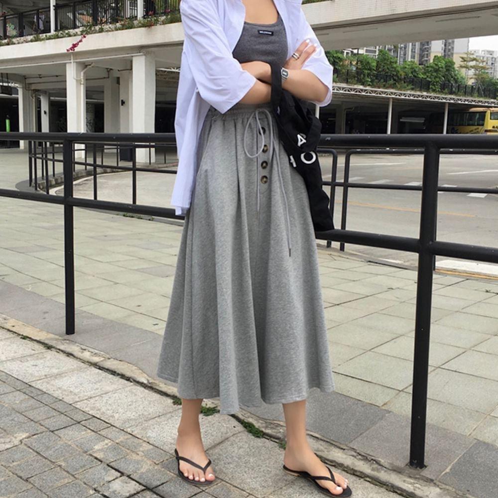 La Belleza素色鬆緊腰抽繩四釦排釦側口袋棉質中長裙