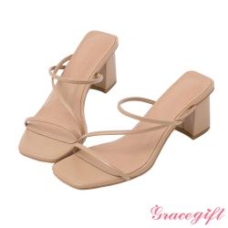 Grace gift-Z字方頭高跟涼拖鞋 杏