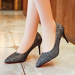 KEITH-WILL時尚鞋館 明星同款浪漫亮眼跟鞋-黑色