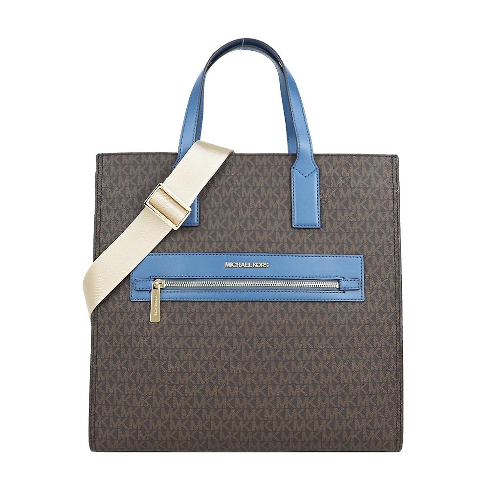 MK MICHAEL KORS KENLY滿版肩/斜兩用購物包-咖藍