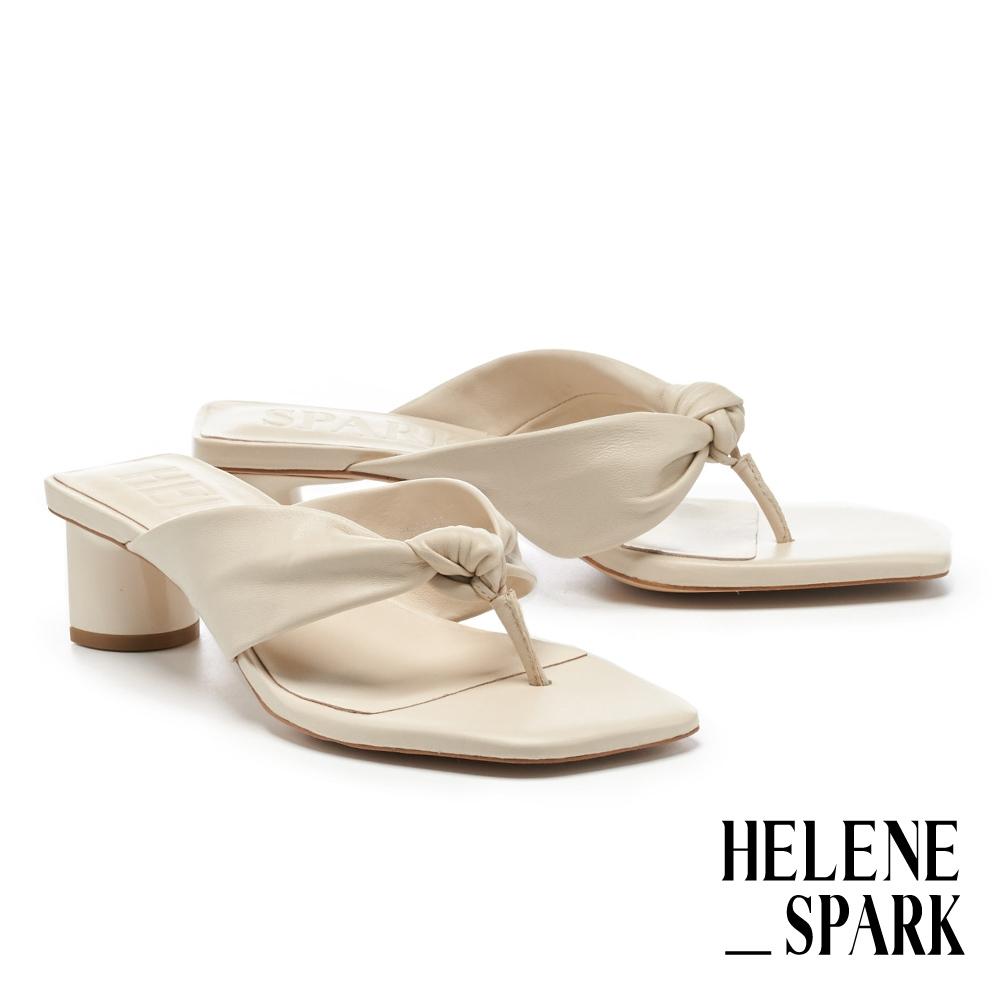 涼鞋 HELENE SPARK 時髦純色扭結羊皮人字方頭高跟拖鞋-米