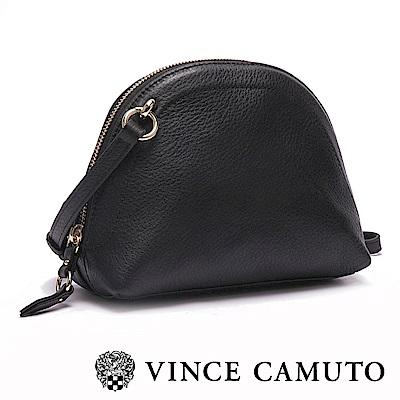 VINCE CAMUTO-真皮革金屬扣素色貝殼包-黑色