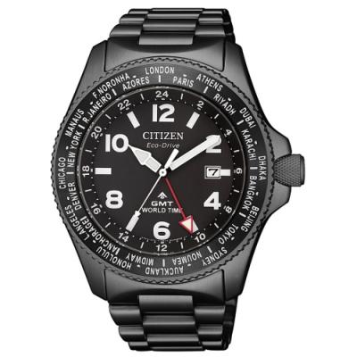 CITIZEN星辰 限量光動能夜幕黑兩地時間GMT時尚男錶(BJ7107-83E)42mm