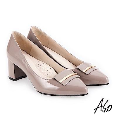 A.S.O 義式簡約 嚴選鏡面簡約飾釦高跟鞋 灰