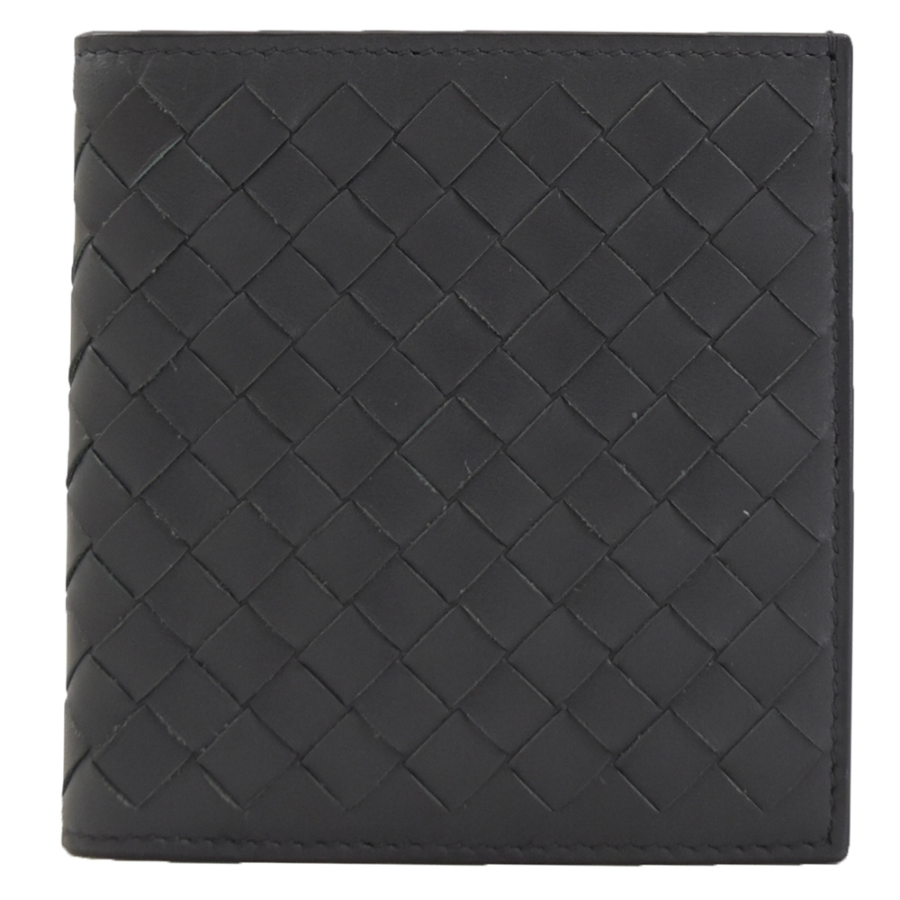 BOTTEGA VENETA經典編織直式六卡短夾(銀黑)