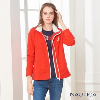 Nautica女裝素色磨毛立領休閒外套-亮紅