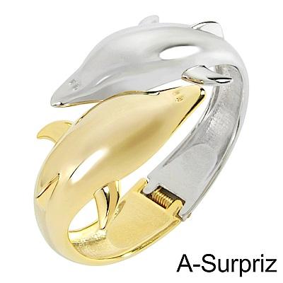 A-Surpriz 雙色海豚金屬手環(金銀)