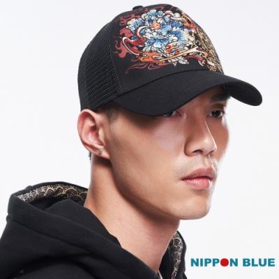 日本藍 BLUE WAY -精繡火牡丹網帽(黑)