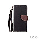 PKG ASUS Zenfone5 2018 ZE620KL 側翻式皮套-葉子時尚款-黑
