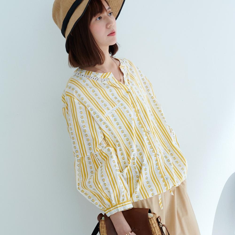 慢 生活 印花泡泡袖抽繩寬版襯衫- 黃/藍