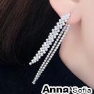 AnnaSofia 流蘇排鑽 後掛墬925銀針耳針耳環(銀系)