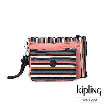 Kipling 繽紛仲夏條紋多袋實用配件包-IAKA L WRISTLET