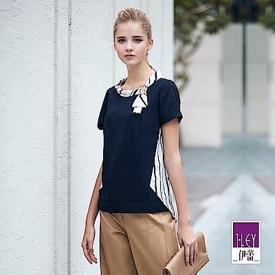 ILEY伊蕾 配色造型剪裁條紋上衣(藍)
