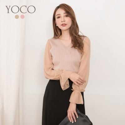東京著衣-YOCO 知性性感雙V領網紗拼接針織上衣
