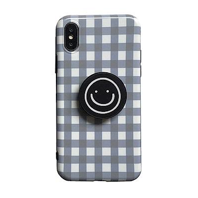 【TOYSELECT】iPhone X/Xs 格紋笑臉氣囊支架手機殼:灰白