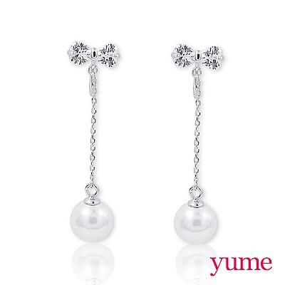 YUME - 純銀夾式-蝴蝶結垂吊珍珠耳環