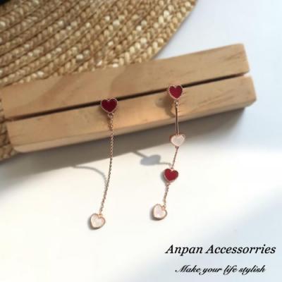 【ANPAN愛扮】韓東大門甜蜜蜜愛心不對稱耳針式耳環