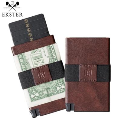 Ekster荷蘭x紐約設計品牌簡約真皮RFID防盜信用卡夾深咖啡色