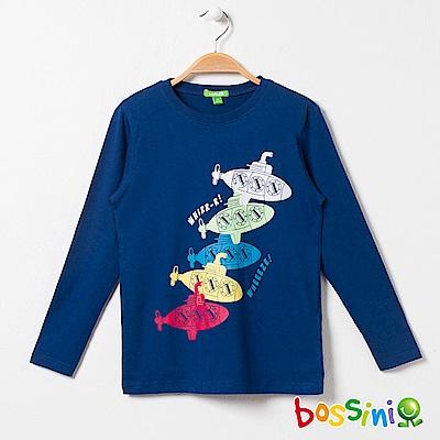 bossini男童-印花長袖T恤04海藍