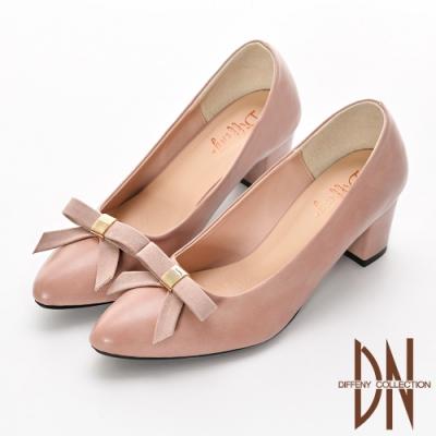 DN 優雅氣質 MIT蝴蝶結素面尖頭跟鞋-粉