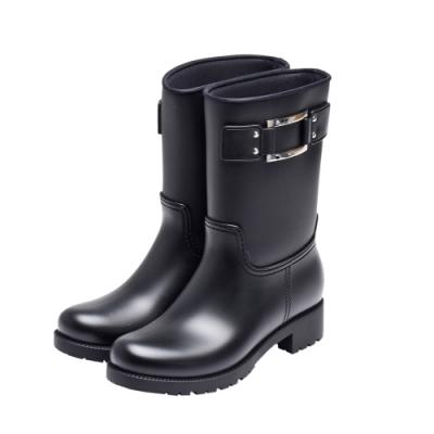 ROGER VIVIER Buckle Rain Boots經典長方型金屬框中筒雨靴(黑)
