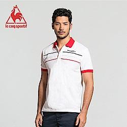 le coq sportif 法國公雞牌三色帶復古短袖POLO衫 男-白