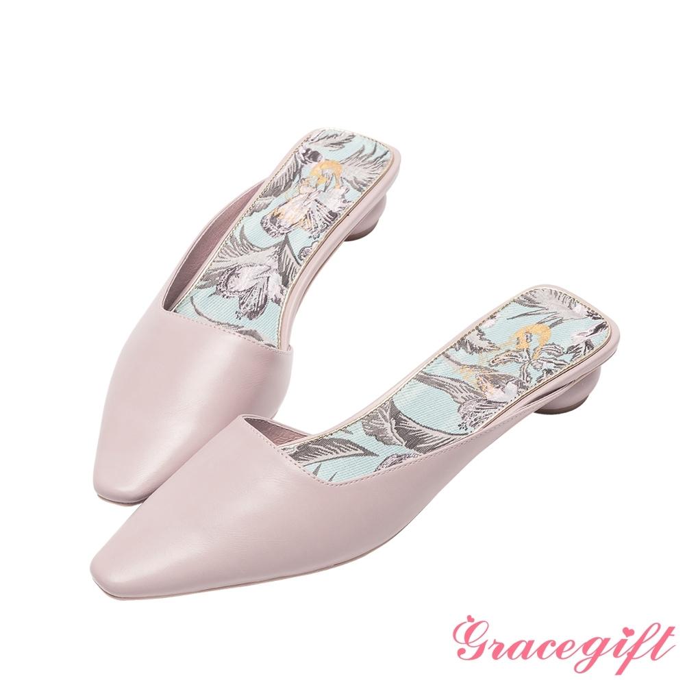 Disney collection by grace gift-花木蘭微方頭穆勒圓跟跟鞋 紫