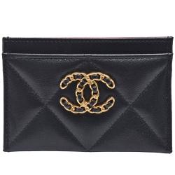 CHANEL 19系列經典金屬雙C LOGO菱格紋小羊皮信用卡夾(黑)