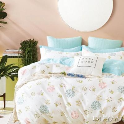 DUYAN竹漾 100%精梳純棉 雙人四件式舖棉兩用被床包組-繽紛花團 台灣製