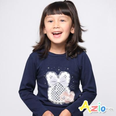 Azio Kids 女童 上衣 刺繡網格蝴蝶結兔子上衣 (深藍)