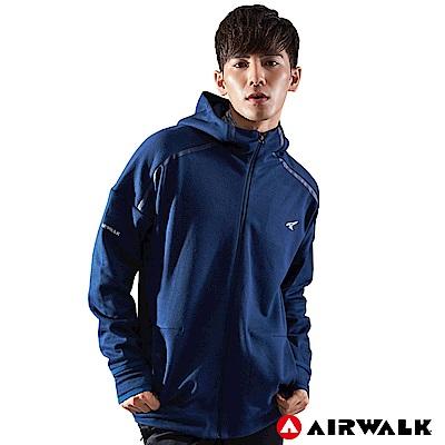 【AIRWALK】男款連帽中厚外套-深藍