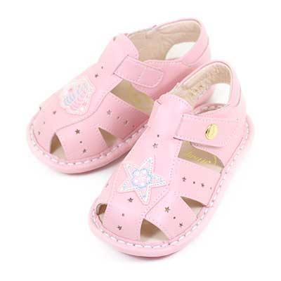 Swan天鵝童鞋-小星星貝殼寶寶學步涼鞋1570-粉