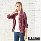 JEEP 女裝 英倫格紋修身長袖襯衫-紅藍格紋