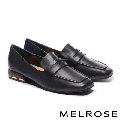 低跟鞋 MELROSE 知性質感拼接全真皮方頭樂福低跟鞋-黑