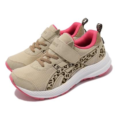 Asics 慢跑鞋 Contend 7 School Yard 童鞋 亞瑟士 魔鬼氈 豹紋 耐用 中童 淺褐 黑 1014A215200