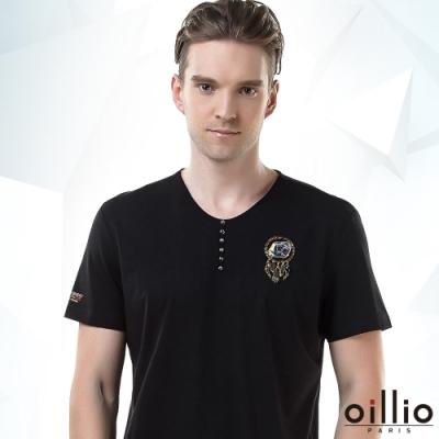 oillio歐洲貴族 男裝 短袖圓領T恤 全棉彈力 舒適透氣 裝飾鈕扣 圖騰圖樣 黑色