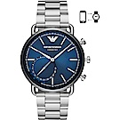 Emporio Armani Connected 指針式智慧錶-藍x銀