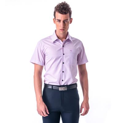 金‧安德森 粉色條紋黑釦窄版短袖襯衫fast