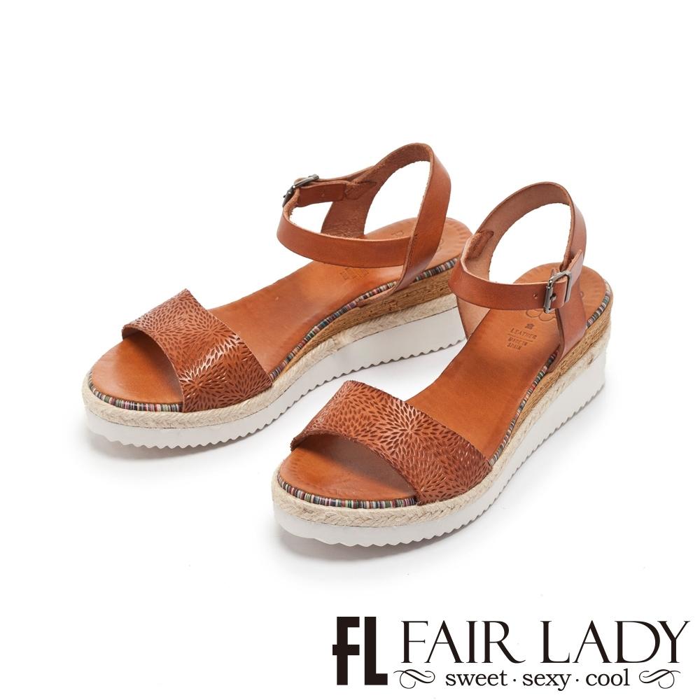 FAIR LADY PORRONET 皮革壓紋一字楔型厚底涼鞋 咖