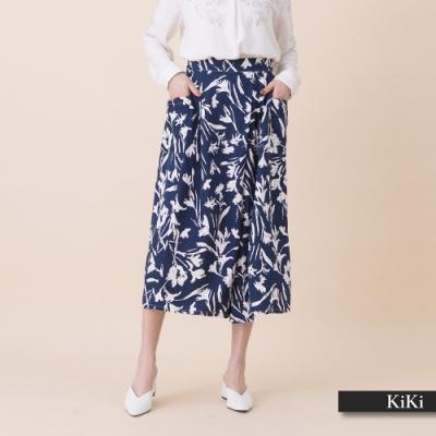 【KiKi】手繪花朵舒適寬-長褲(綠色/版型偏寬鬆)