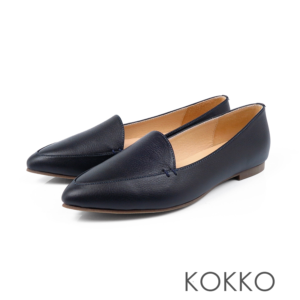 KOKKO -勇敢前進吧尖頭柔軟彎折樂福鞋-深海藍