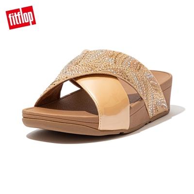 FitFlop LULU CRYSTAL FEATHER SLIDES 水鑽交叉涼鞋 女(胭脂裸膚)