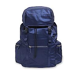 agnes b. Voyage 防潑水尼龍雙口袋抽繩後背包 (藍)