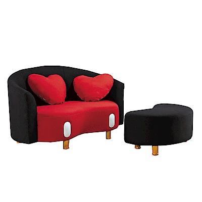 品家居 多度雙色亞麻布實木L型沙發(二人+凳)-139x130x80-免組